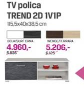 TV Polica Trend 2D 1V1P, bela/surf crna
