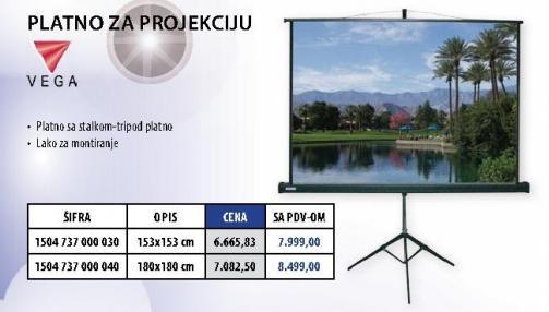 Platno za projekciju 180x180cm
