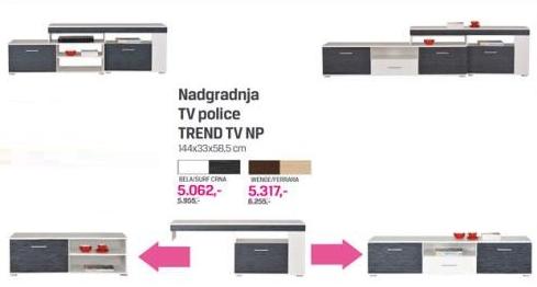 Nadgradnja TV Police TREND TV NP, wenge, ferrara