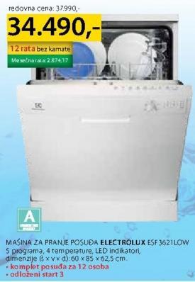 Mašina Za Pranje Posuđa Esf3621Low