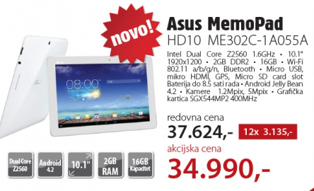 Tablet MemoPad HD10 ME302C-1A055A