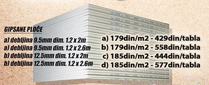 Gipsane ploče 9,5mm 1,2x2m