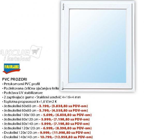 Pvc Prozori Jednokrilni 100x100
