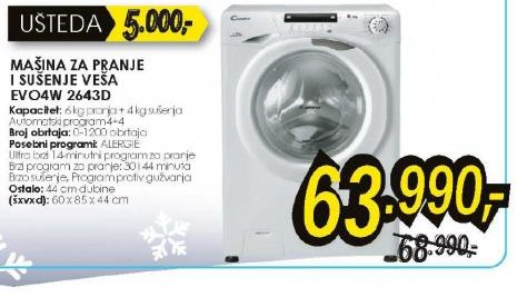 Mašina za pranje i sušenje EVO4W2643D
