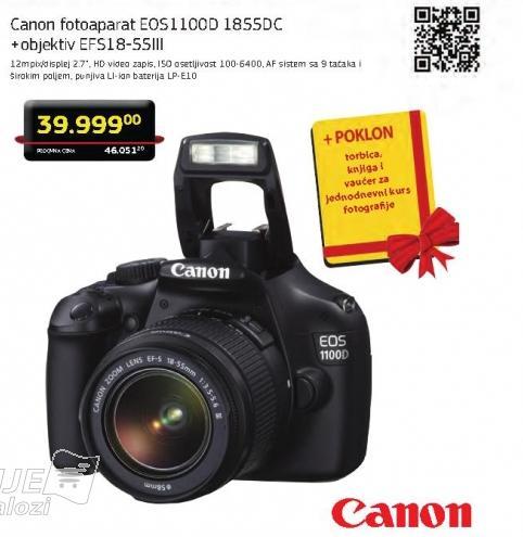 Digitalni fotoaparat Eos1100d + objektiv Efs18-55III + Poklon torbica,  knjiga i  vaučer za  jednodnevni kurs  fotografije