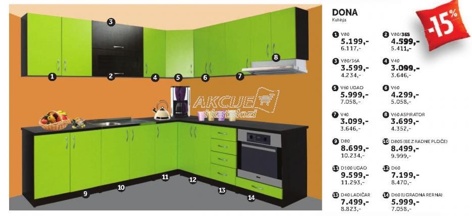 Kuhinjski element D100 Ugao Dona