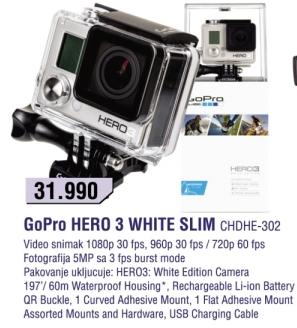 Kamera GoPro Hero 3 White Slim Chdhe-302