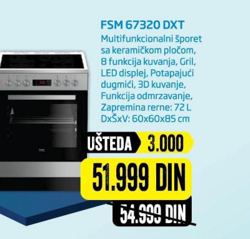 Šporet FSM67320 DXT