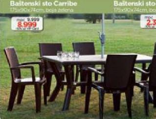 Baštenski sto Carribe, zeleni