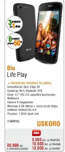 Mobilni telefon Blu, Life Play