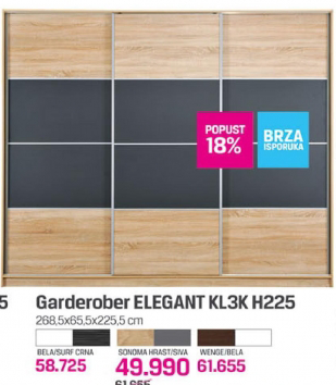 Garderober Elegant KL2K H225, wenge/bela