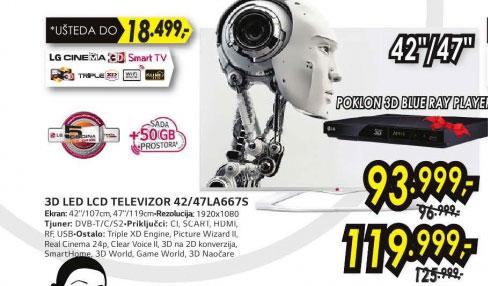 3D televizor LED LCD 42LA667S+Poklon: LG 3D Blu-ray plejer BP-325