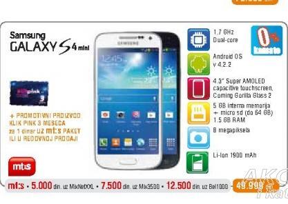 Mobilni telefon I9195 Galaxy S4 mini