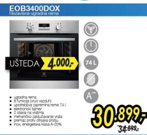 Nezavisna  ugradna rerna EOB 3400 DOX