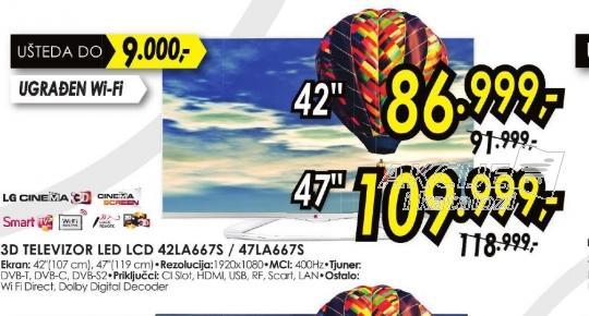 Televizor LED LCD 47LA667S