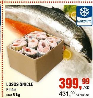 Smrznuta riba losos šnicle