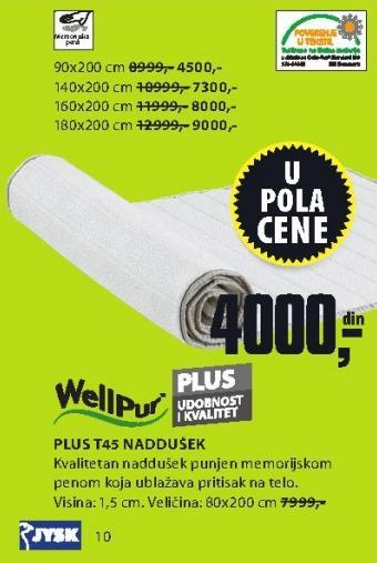Naddušek Plus T45 80x200
