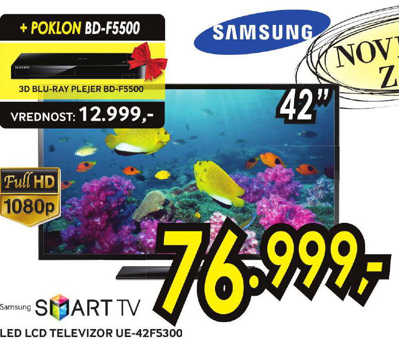 LED Televizor UE42F5300 + poklon 3D blue ray pleyer BD F 5500