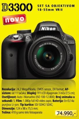 Digitalni fotoaparat D3300 sa objektivom 18-55mm VR II