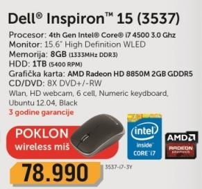 Laptop Inspiron 15 3537-i7-3Y