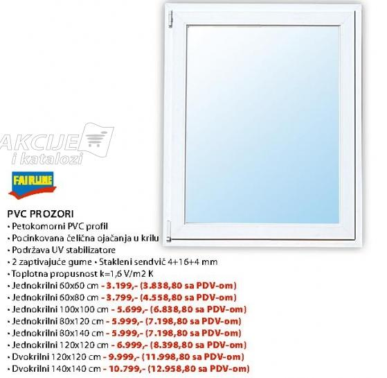 Pvc Prozori Jednokrilni 80x140