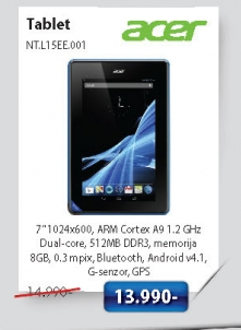"Tablet B1 7"" Dual Core 1. NT.L15EE.001"