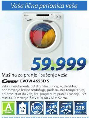 Mašina za pranje i sušenje EVOW4653 D-S
