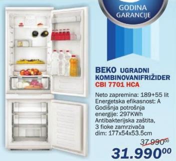 Ugradni kombinovani frižider Cbi 7701 Hca
