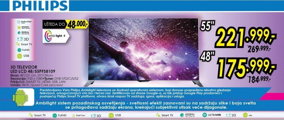 """Televizor LED 55"""" 3D 55pfs8109"""