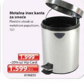 Metalna Inox kanta za smeće