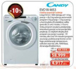 Evow4653 Mašina Za Pranje I Sušenje Veša