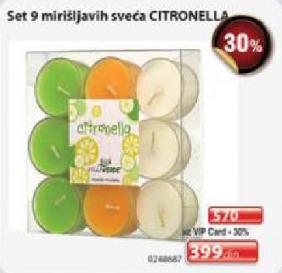 Set 9 mirišljavih sveća CITRONELLA