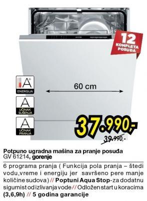 Potpuno ugradna mašina za pranje sudova GV61214