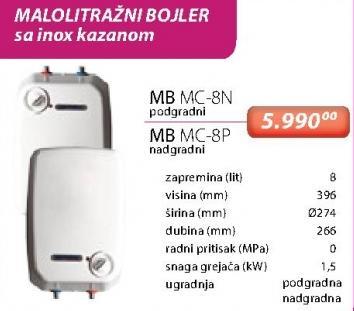 Malolitražni bojler Mb Mc-8n i Mb Mc-8p
