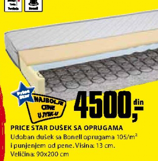 Dušek sa oprugama Price Star 90x200 cm