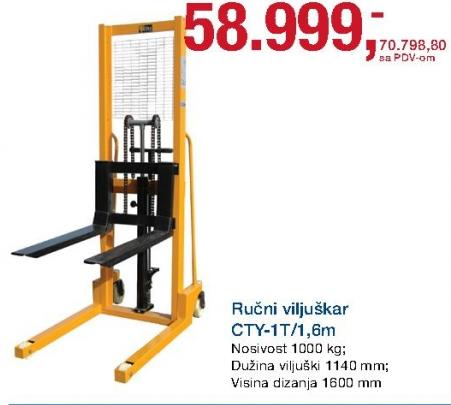 Ručni viljuškar Cty-1t/1,6m