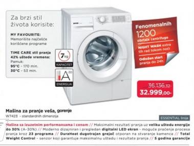 Mašina Za Pranje Veša W 7423