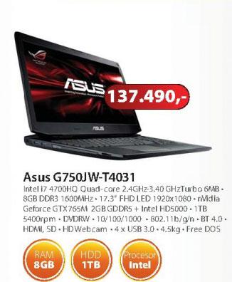 Laptop G750JW-T4031