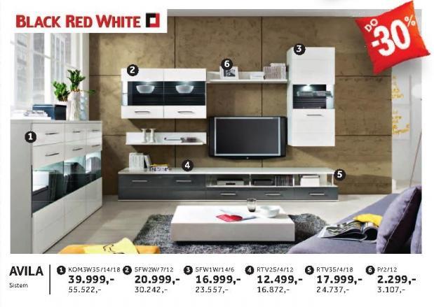 Polica Sfw1w/14/6 Avila Black Red White