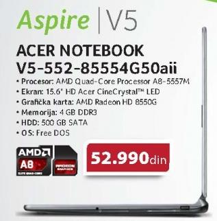 Notebook Aspire V5-552-85554g50aii