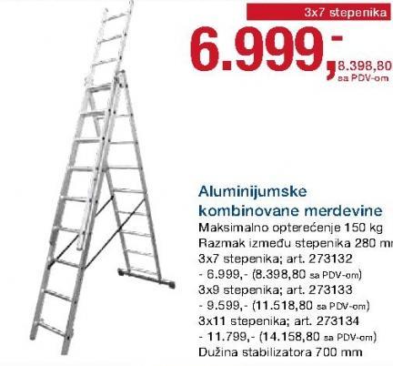 Merdevine aluminijumske kombinovane 3x11