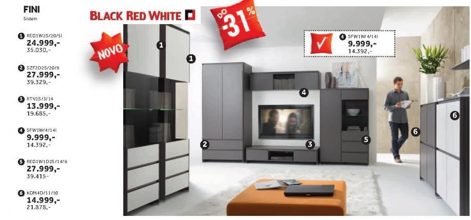 Polica Rtv2s/3/14 Fini Black Red White