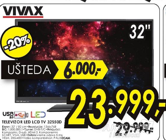 Vivax televizor LED LCD TV 32S50D