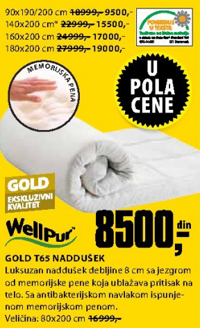 Naddušek, Gold T65 90x190/200 cm