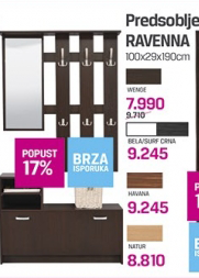 Predsoblje Ravenna, bela/surf crna, havana