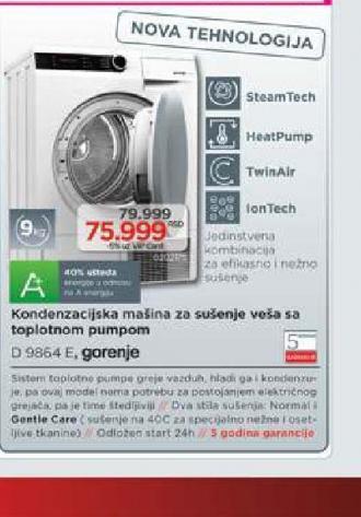 Mašina Za Sušenje Veša Kondenzaciona  D9864E