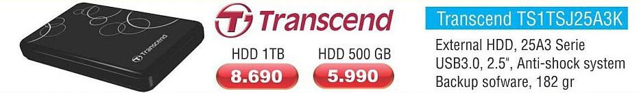 Eksterni Hard Disk Transcend TS1TSJ25A3K 500GB