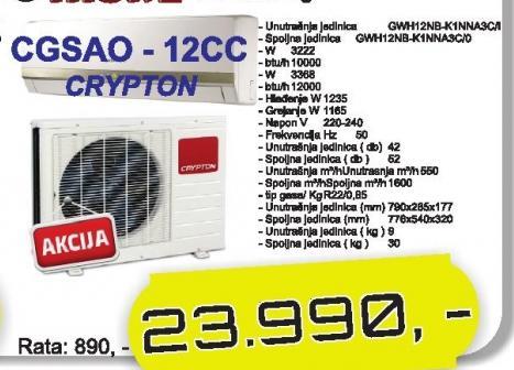 Klima Uređaj CGSAO-12 CC Crypton