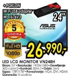 "Monitor LED 24"" Vn248bh + Poklon WiFi USB adapter Wl 1676v3"