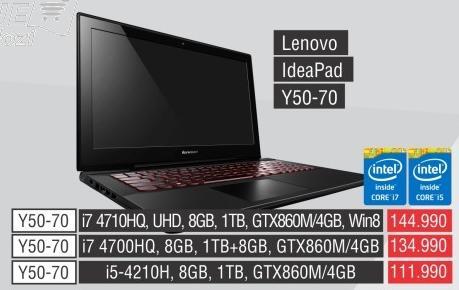 Laptop IdeaPad Y50-70